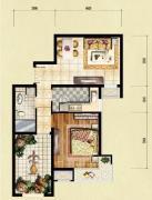 红木林1室2厅1卫66平方米户型图