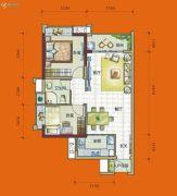 时代花城2室2厅1卫70平方米户型图