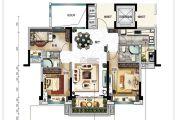 碧桂园翡翠华庭3室2厅2卫115平方米户型图