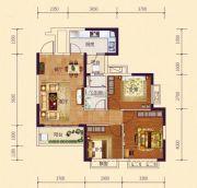 恒大御府3室2厅1卫90平方米户型图