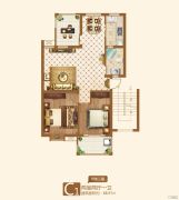 竟达风渡2室2厅1卫88平方米户型图