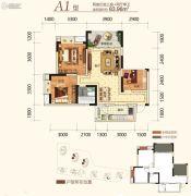 同创金色明天2室2厅2卫83平方米户型图