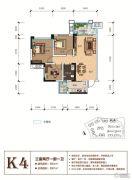 天立香缇华府3室2厅1卫81平方米户型图