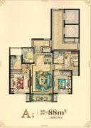 大自然・外滩柏悦3室2厅2卫88平方米户型图
