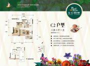 广安公园里2室2厅1卫91平方米户型图