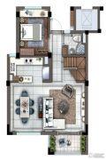 灏景湾2室2厅1卫115平方米户型图
