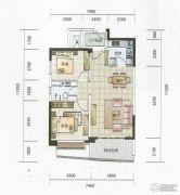 华融琴海湾2室2厅1卫87平方米户型图