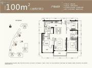 京基御景中央3室2厅2卫100平方米户型图