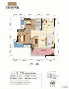 大川滨水城2室2厅1卫73平方米户型图