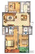 金新御园3室2厅2卫121平方米户型图