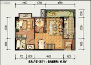 国盛园墅2室1厅1卫49平方米户型图