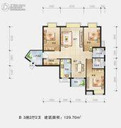 景江国际3室2厅2卫129平方米户型图
