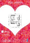 蔷薇国际1室2厅1卫50平方米户型图