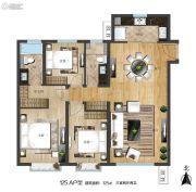 世界冠郡3室2厅2卫125平方米户型图
