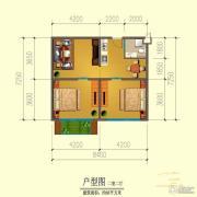中信井冈御龙湾2室2厅1卫68平方米户型图