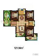 万国园白金汉府3室2厅1卫121平方米户型图