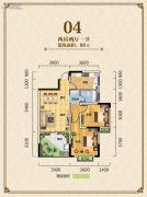 凯城一品2室2厅1卫88平方米户型图