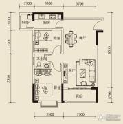 宝嘉花与山1室2厅1卫67平方米户型图