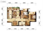 招商中央华城2室2厅1卫78平方米户型图