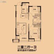 恒大盛京印象2室2厅1卫88平方米户型图