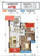 碧桂园湖光山色3室2厅1卫91平方米户型图