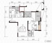 成都绿地中心468公馆2室2厅1卫75平方米户型图