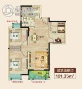 正通桂花苑3室2厅1卫101平方米户型图