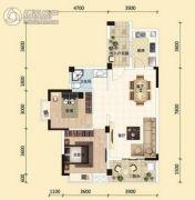东湖国际城2室2厅1卫88平方米户型图