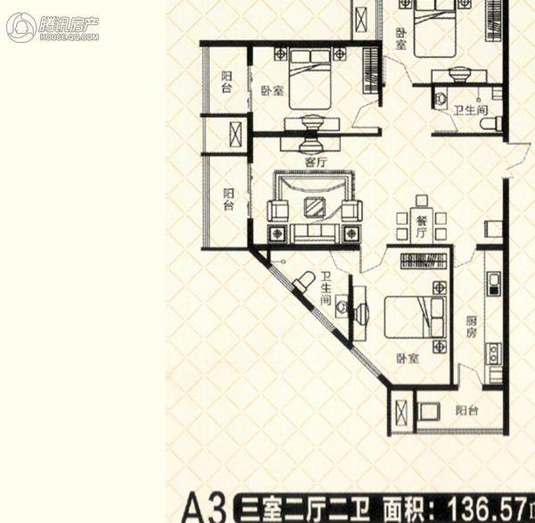 砥柱大厦A-3 3室2厅1卫1厨136㎡