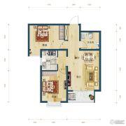 滨湖国际・观澜2室2厅1卫77平方米户型图