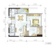 金地天府城2室2厅1卫82平方米户型图