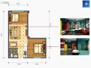 时光城・云立方2室2厅1卫76平方米户型图