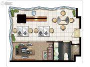 绿地中央广场1室1厅1卫73平方米户型图