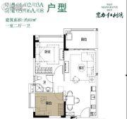 富力红树湾1室2厅1卫62平方米户型图