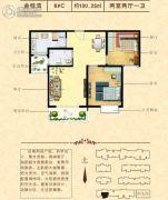 金桂湾2室2厅1卫100平方米户型图