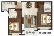 仁恒公园世纪2室2厅2卫0平方米户型图
