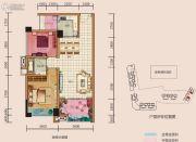 中央首座3期银座2室2厅1卫94平方米户型图