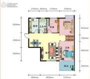 上上坊3室2厅1卫96平方米户型图