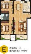 百汇地2室2厅1卫100平方米户型图