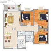 城投姜源城3室2厅2卫84平方米户型图