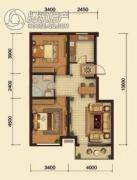 中鸿基名都2室2厅1卫88平方米户型图