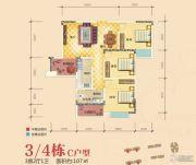 雅晟乾城3室2厅1卫107平方米户型图