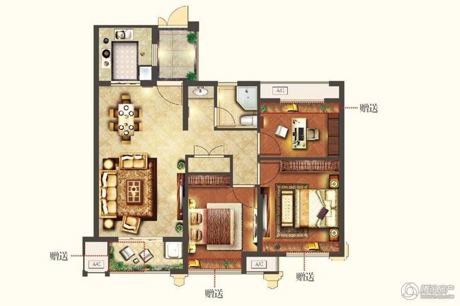 天河理想城A4户型三室两厅一卫89㎡